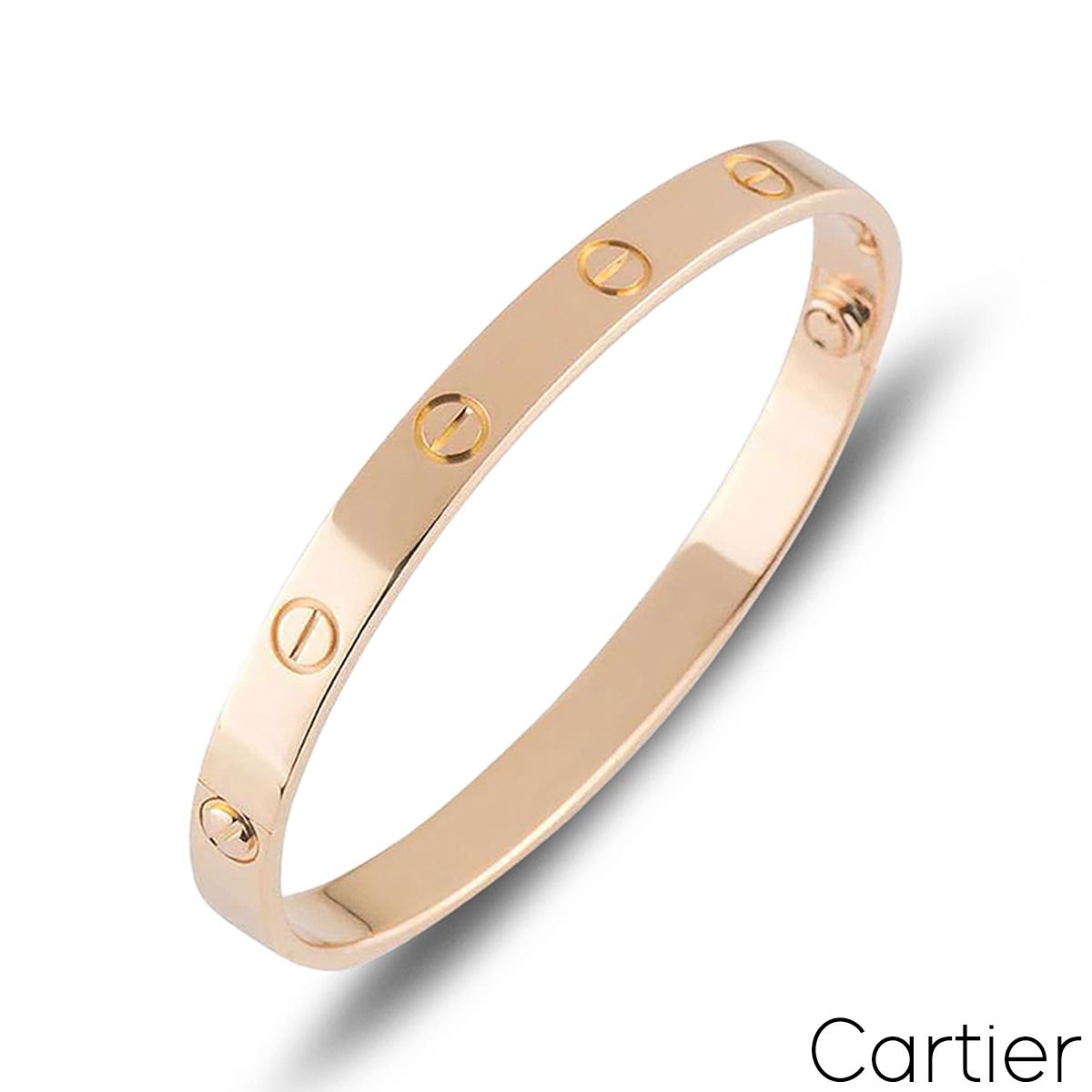 Cartier Rose Gold Plain Love Bracelet Size 20 B6035620